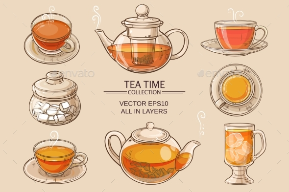 GraphicRiver Glass Tea Set Color 21177842