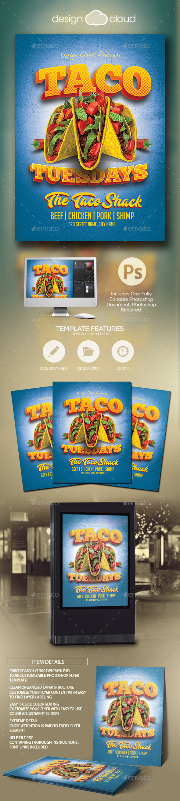GraphicRiver Taco Tuesdays Flyer Template 21177847