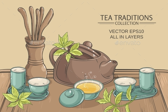 Tea Ceremony Illustration - Food Objects
