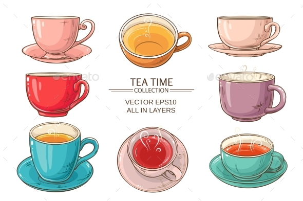 GraphicRiver Tea Cups Set Color 21177859