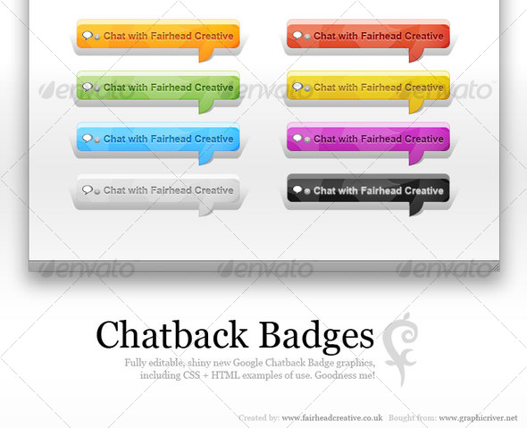 Chatback Badges - Buttons Web Elements
