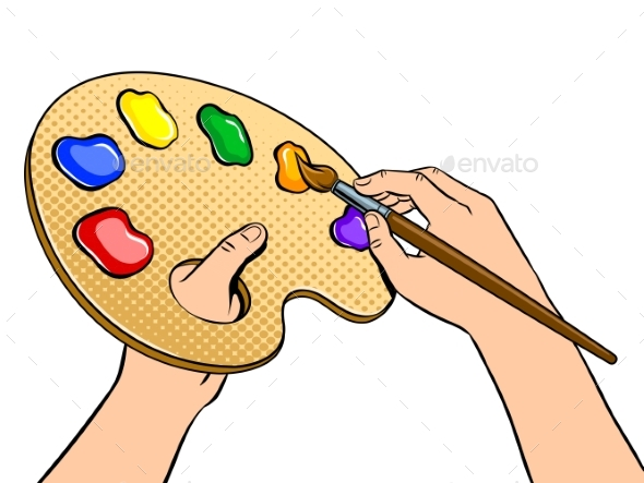 Palette with Paints in Artist Hands Pop Art Vector - Miscellaneous Vectors