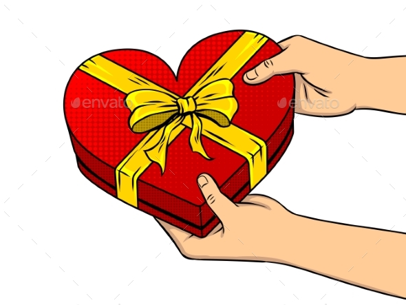 GraphicRiver Red Heart Shaped Gift Box Pop Art Vector 21178401