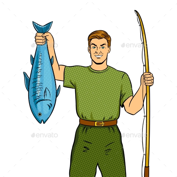 GraphicRiver Fisherman with Fishing Rod and Fish Pop Art Vector 21178412