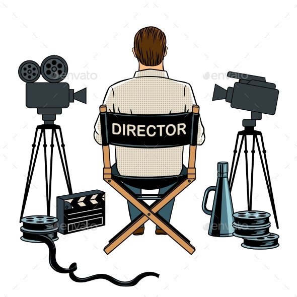 GraphicRiver Stage Director on Set Pop Art Vector Illustration 21178414