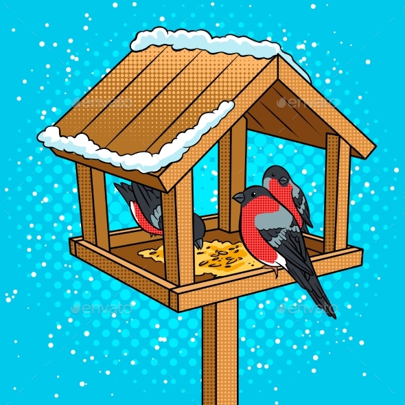 GraphicRiver Winter Bird Feeder Pop Art Vector Illustration 21178423
