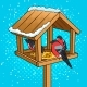 Winter Bird Feeder Pop Art Vector Illustration
