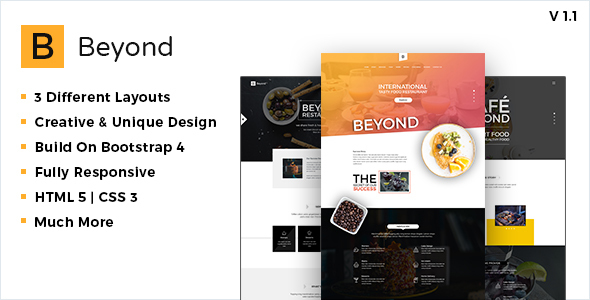 Beyond Restaurant and Cafe Website Template