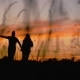 Silhouette of Running Couple - VideoHive Item for Sale