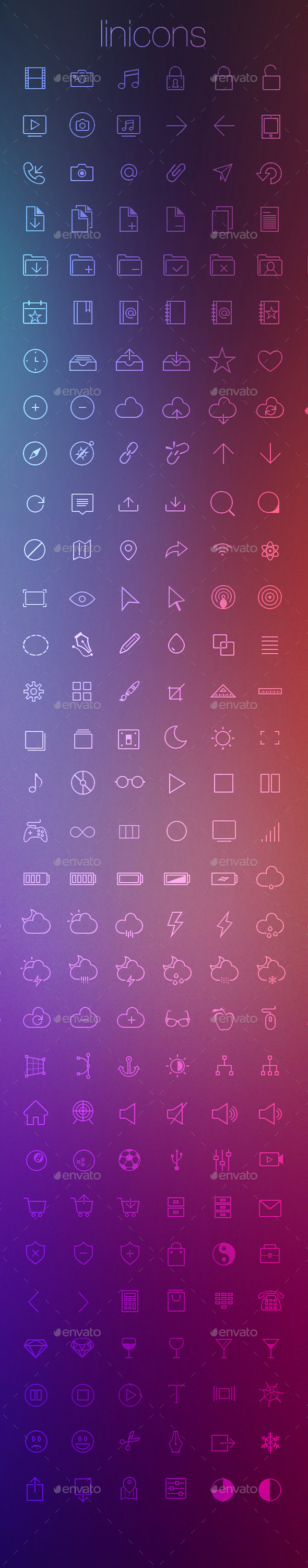 Linicons - 310 stroke icons CSH PSD PNG - Web Icons