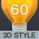 60 Essential Common Used Collection of 3D Style Icon Set
