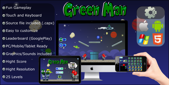 CodeCanyon Green Man Physics Game .CAPX Mobile and HTML5 21179198