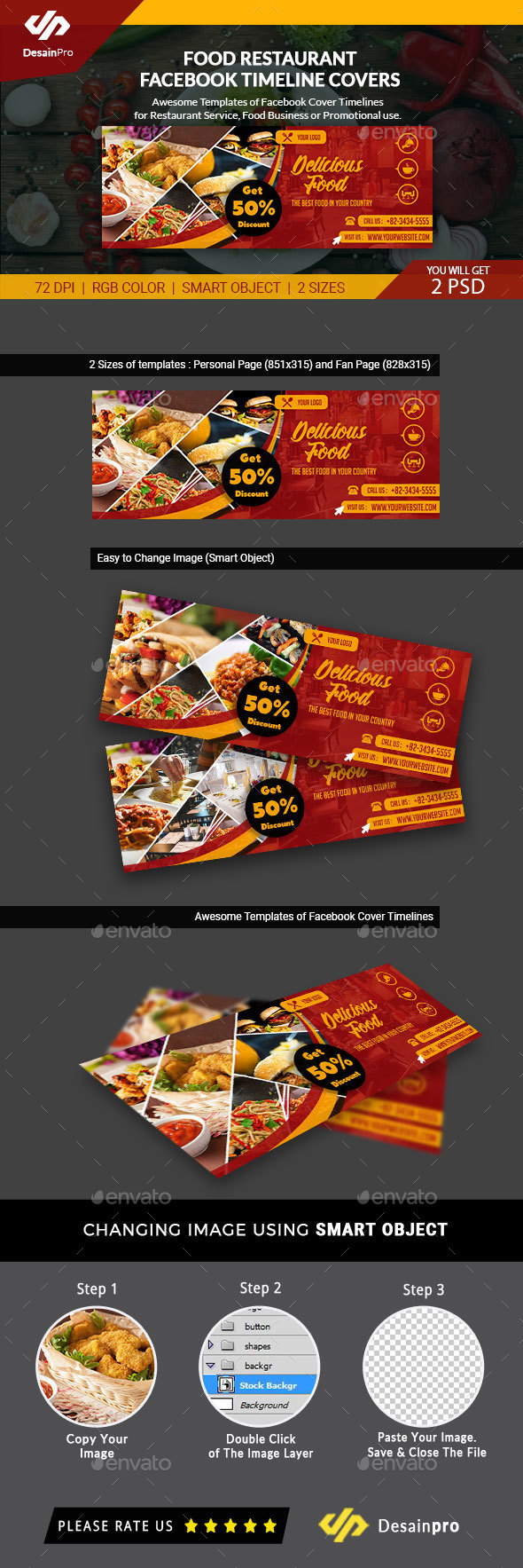 GraphicRiver Food & Restaurant Business Services Facebook Timeline Covers AR 21179227