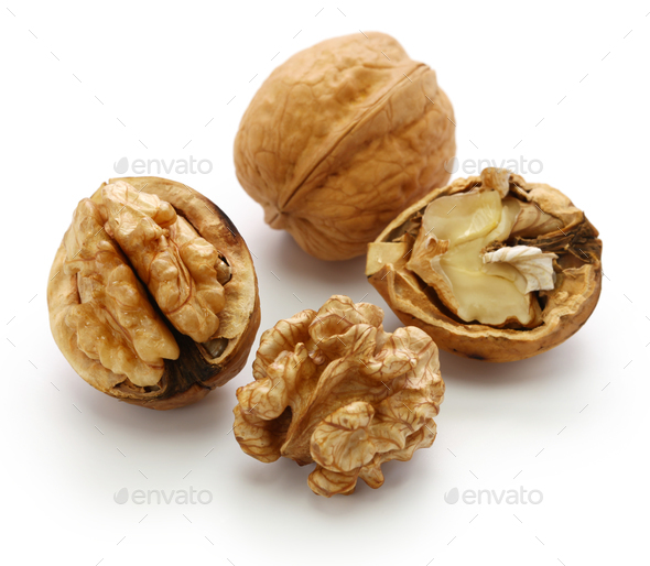 walnuts, kernel and shell isolated on white background - Stock Photo - Images