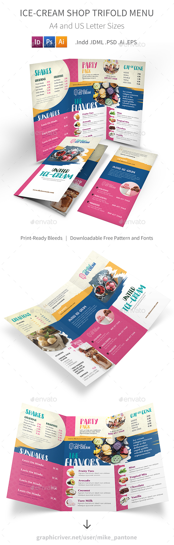 GraphicRiver Ice-cream Restaurant Trifold Menu 3 21179307
