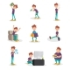 Flat Vector Set of People with Bad Habits