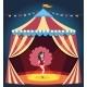 Dancing Girl on Circus Arena. Entertaining Show.