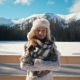 Winter Portrait of Lady in Fur Hat with Nice Mountains and Snow at Background - VideoHive Item for Sale
