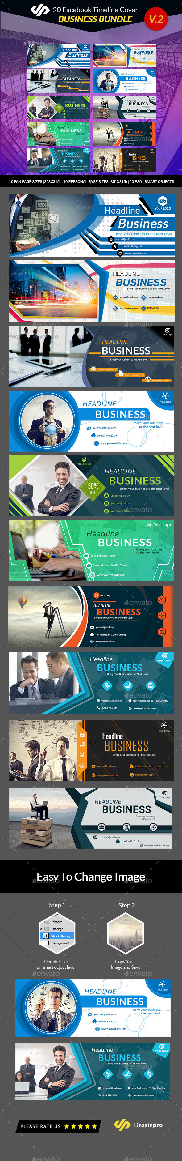 GraphicRiver 20 FB Business Timeline Covers Bundle V2 AR 21179643