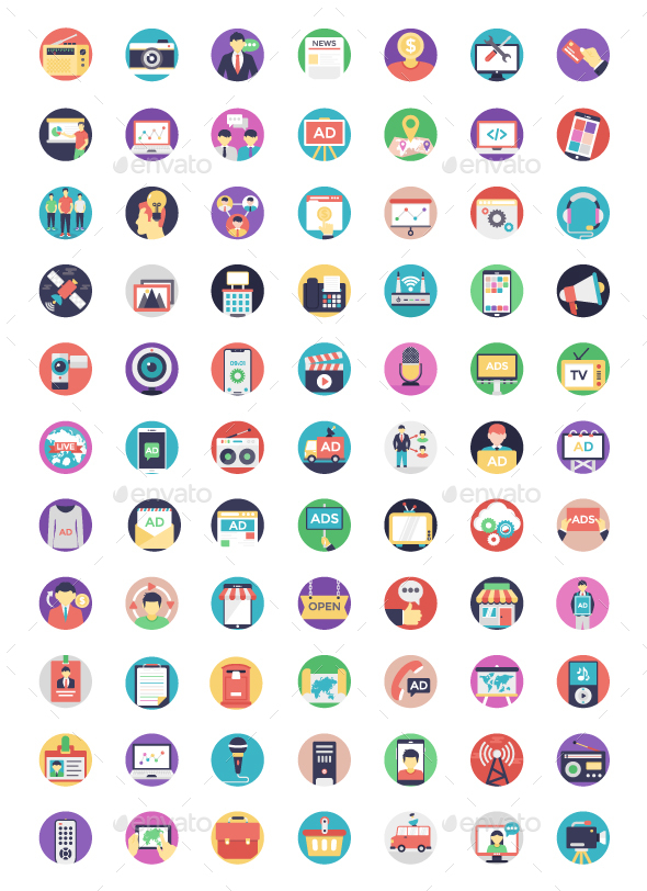 Media and Advertisement Flat Icons - Icons
