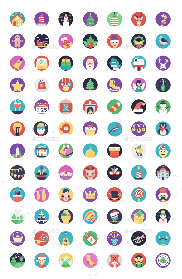 GraphicRiver 84 Christmas Flat Design Icons 21179667