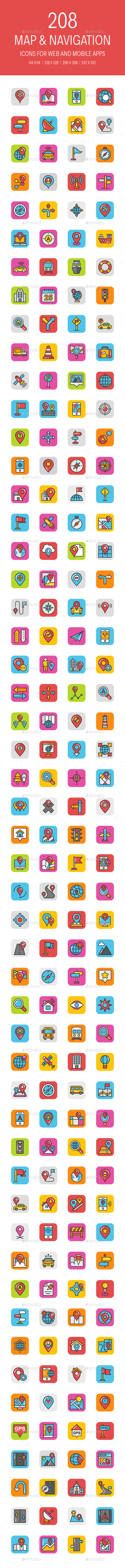 GraphicRiver 208 Map and Navigation Icons 21179697