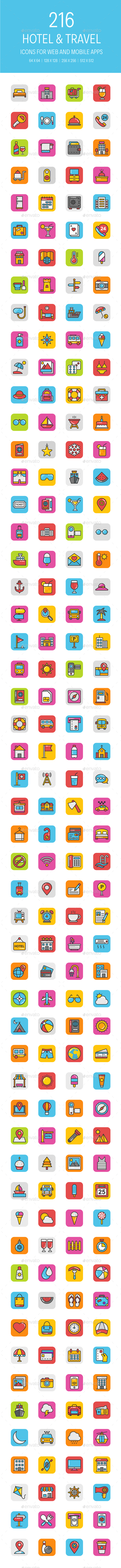 GraphicRiver 216 Hotel and Travel Icons 21179698