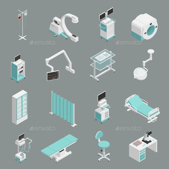 GraphicRiver Hospital Equipment Isometric Icons Set 21179706