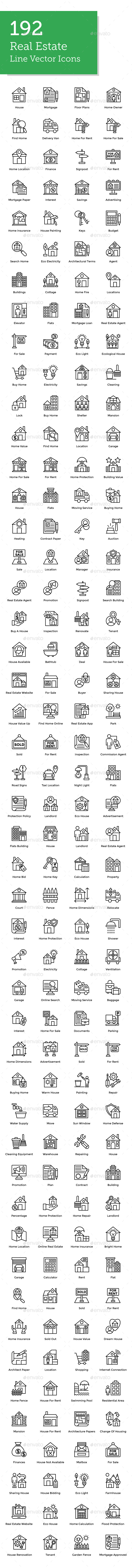 GraphicRiver 192 Real Estate Line Icons 21179723