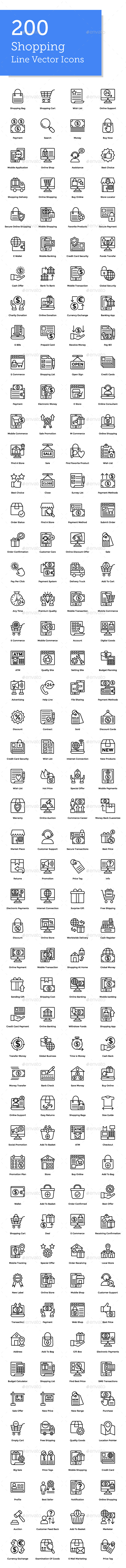 GraphicRiver 200 Shopping Line Icons 21179732