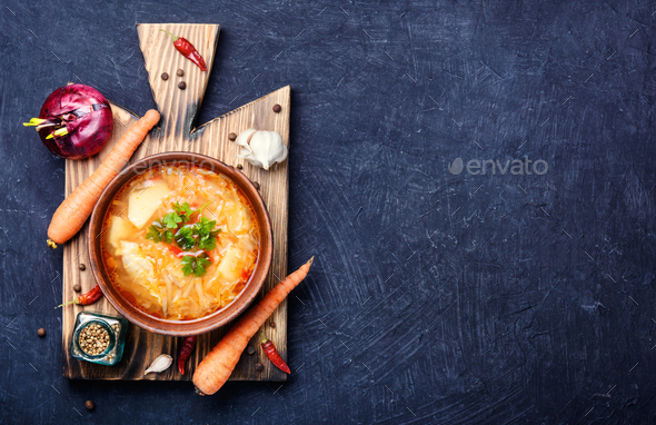 Ukrainian national food-borshch - Stock Photo - Images