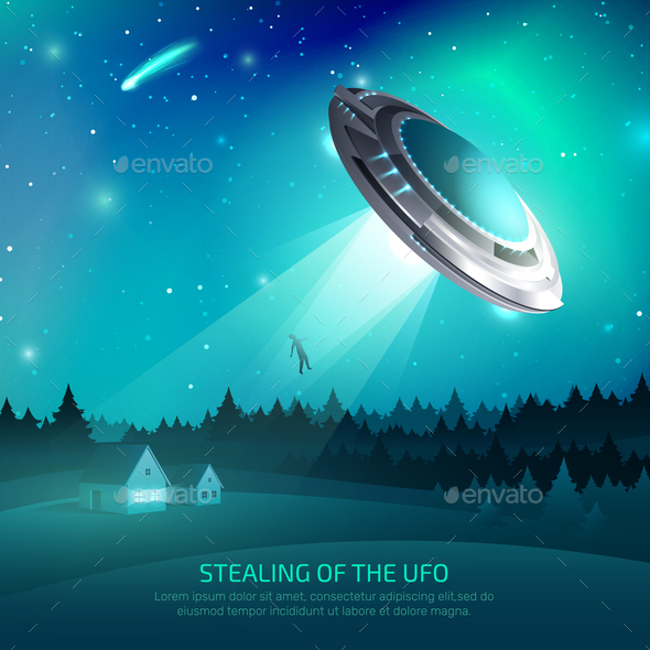 GraphicRiver Alien Spacecraft Kidnapping Poster 21179792