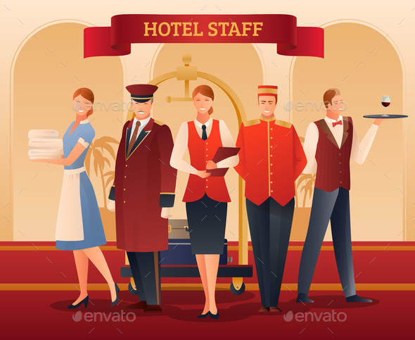 GraphicRiver Hotel Staff Flat Composition 21179805