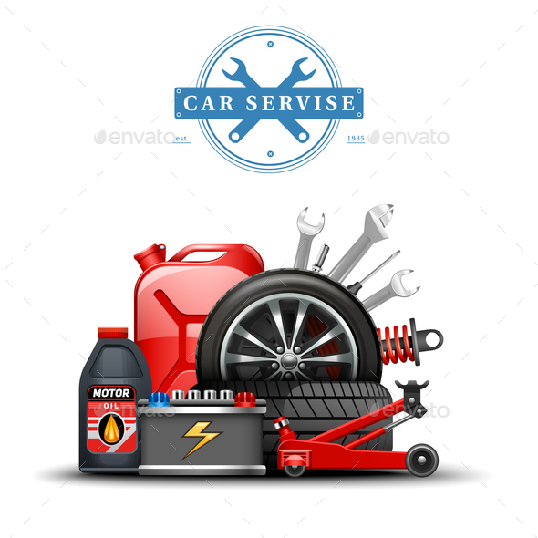 GraphicRiver Car Service Center Accessories Composition 21179819
