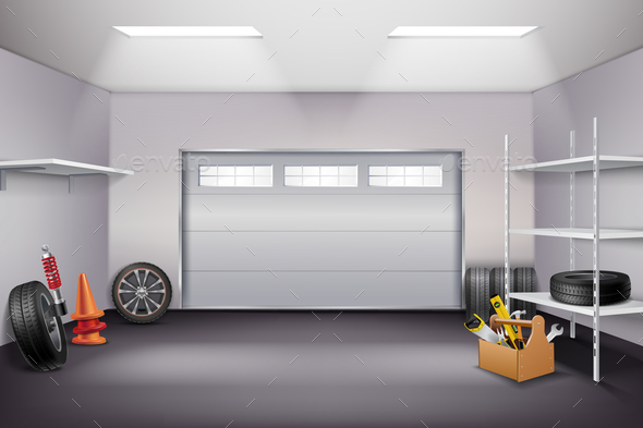 GraphicRiver Garage Interior Realistic Composition 21179823