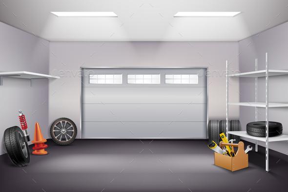 Garage Interior Realistic Composition - Miscellaneous Vectors