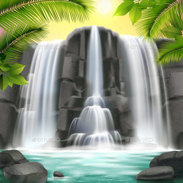 Waterfall Realistic  Background - Nature Conceptual