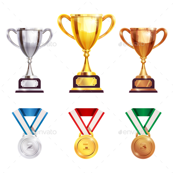 Award Trophy Medal Realistic Set - Backgrounds Decorative