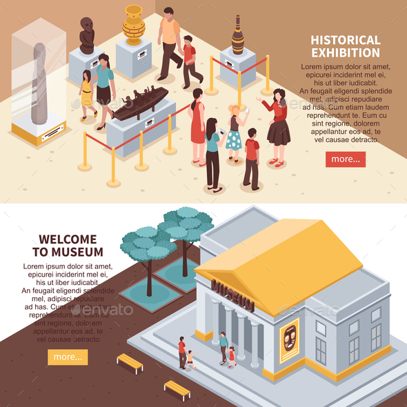 Historical Exhibition Isometric Banners - Buildings Objects