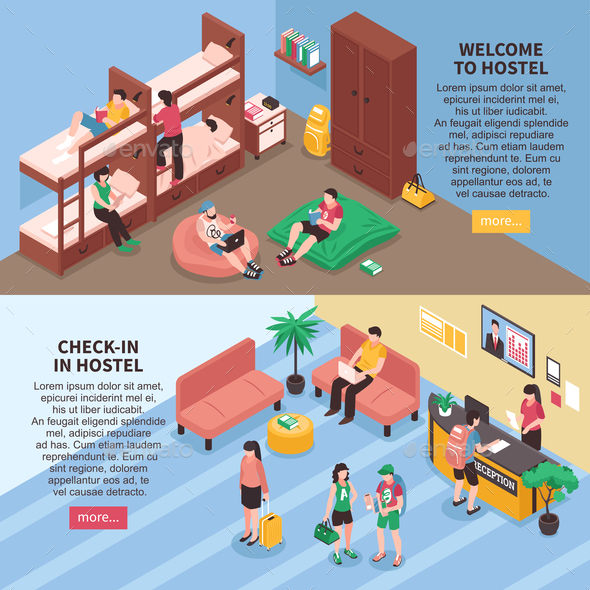 Hostel Rooms Isometric Banners - Business Conceptual