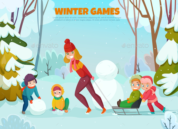 GraphicRiver Kindergarten Winter Walk Illustration 21179921