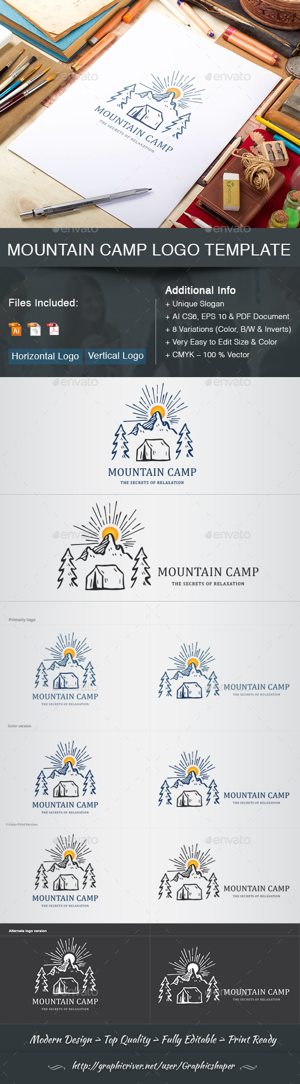 Mountain Camp Logo Template - Nature Logo Templates