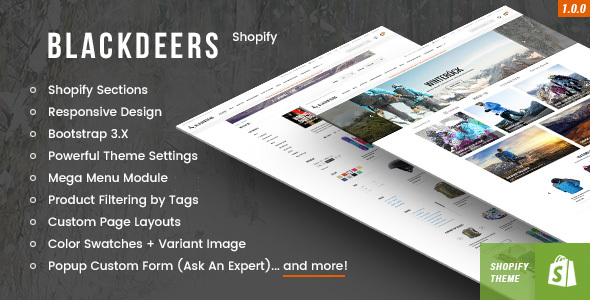 BlackDeers - Responsive Shopify Template (Sections Ready) - Shopify eCommerce