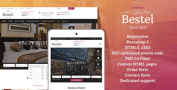 Image of Bestel - Premium Hotel HTML Website Template