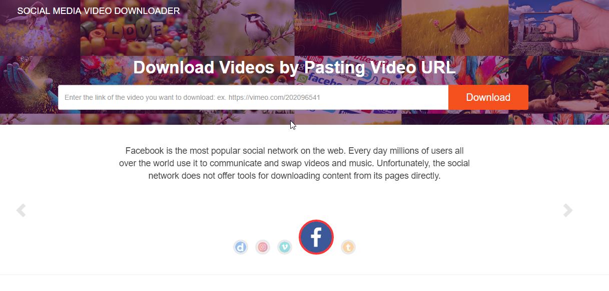 Social media video downloader - Facebook, Instagram, DailyMotion, Vimeo,  Tumblr