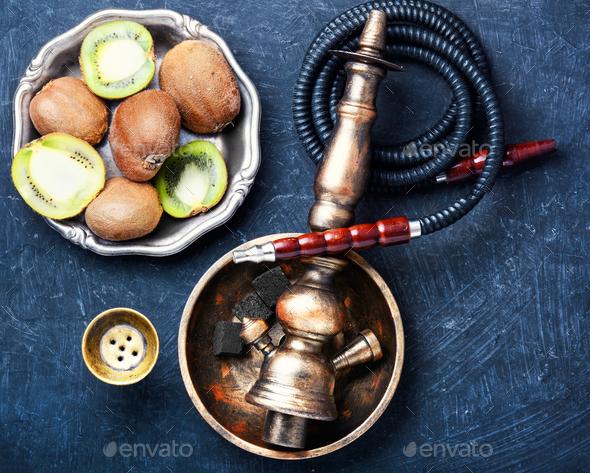 hookah shisha with kiwi - Stock Photo - Images