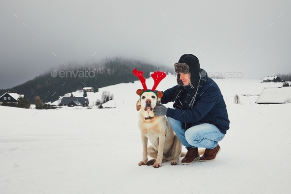 Funny walk with dog in the snowy landscape - Stock Photo - Images