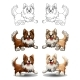 Set Border Collie Colorful and Contour - GraphicRiver Item for Sale