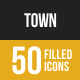 50 Town Filled Low Poly B/G Icons