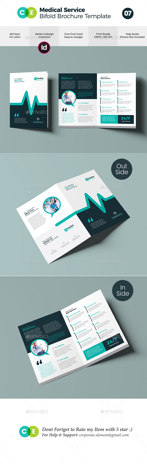 Medical Service Bifold Brochure Template V07 - Brochures Print Templates